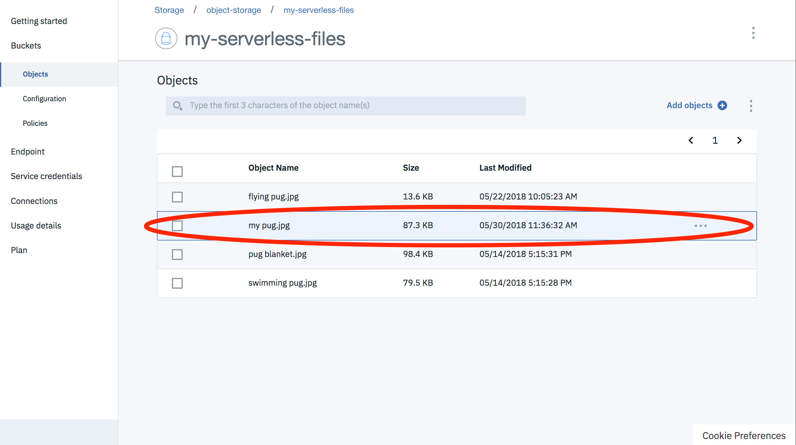 Using Cloud Object Storage from IBM Cloud Functions (Node js